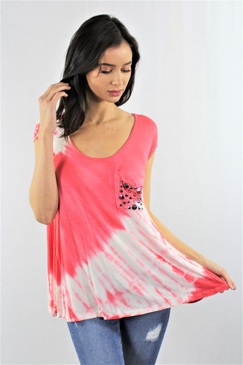 Sleeveless Pocket Front Tie Dye Top
