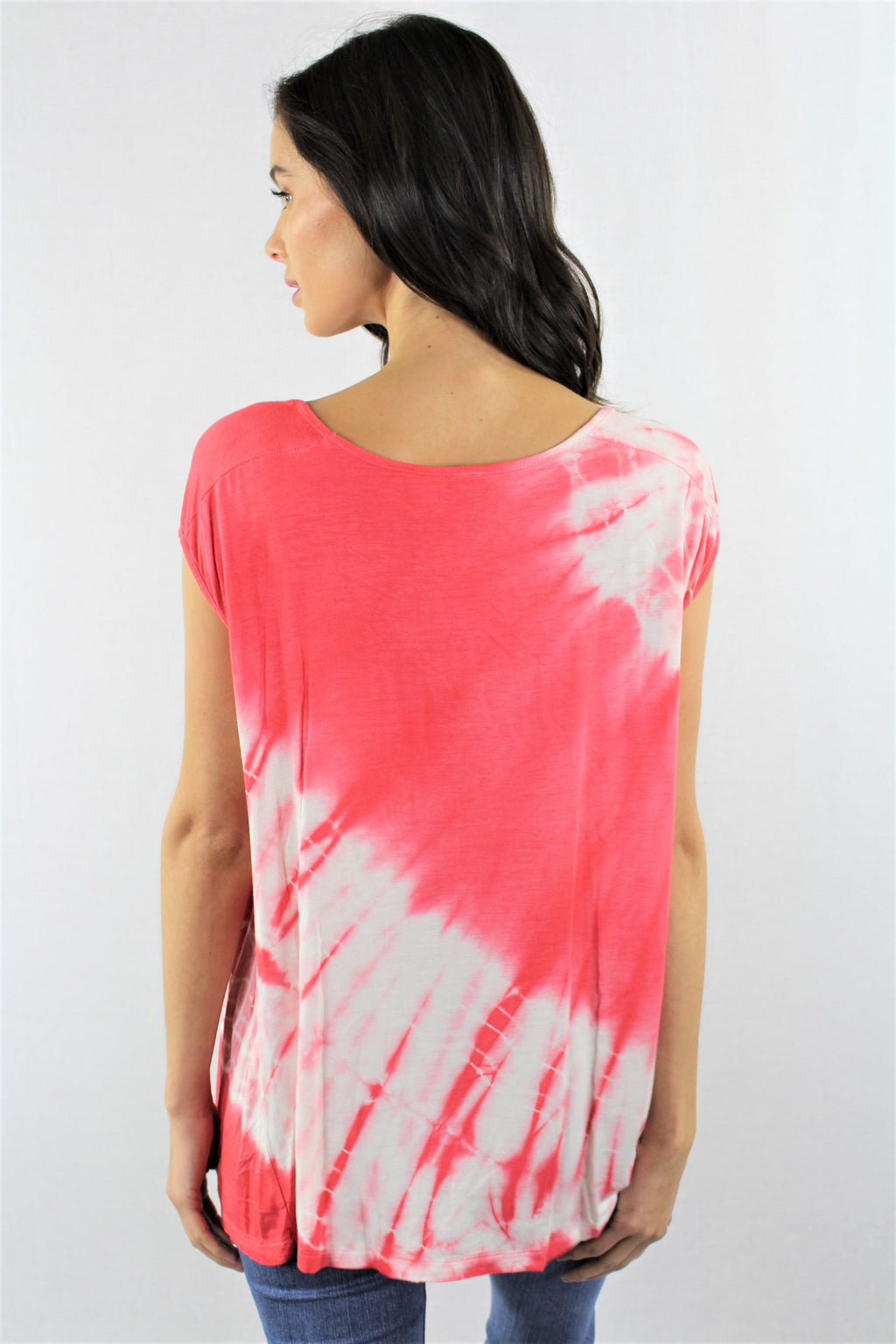 Women's Mini Sleeve Pocket Front Tie Dye Top
