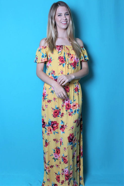 Women's Off Shoulder Floral Maxi Dress