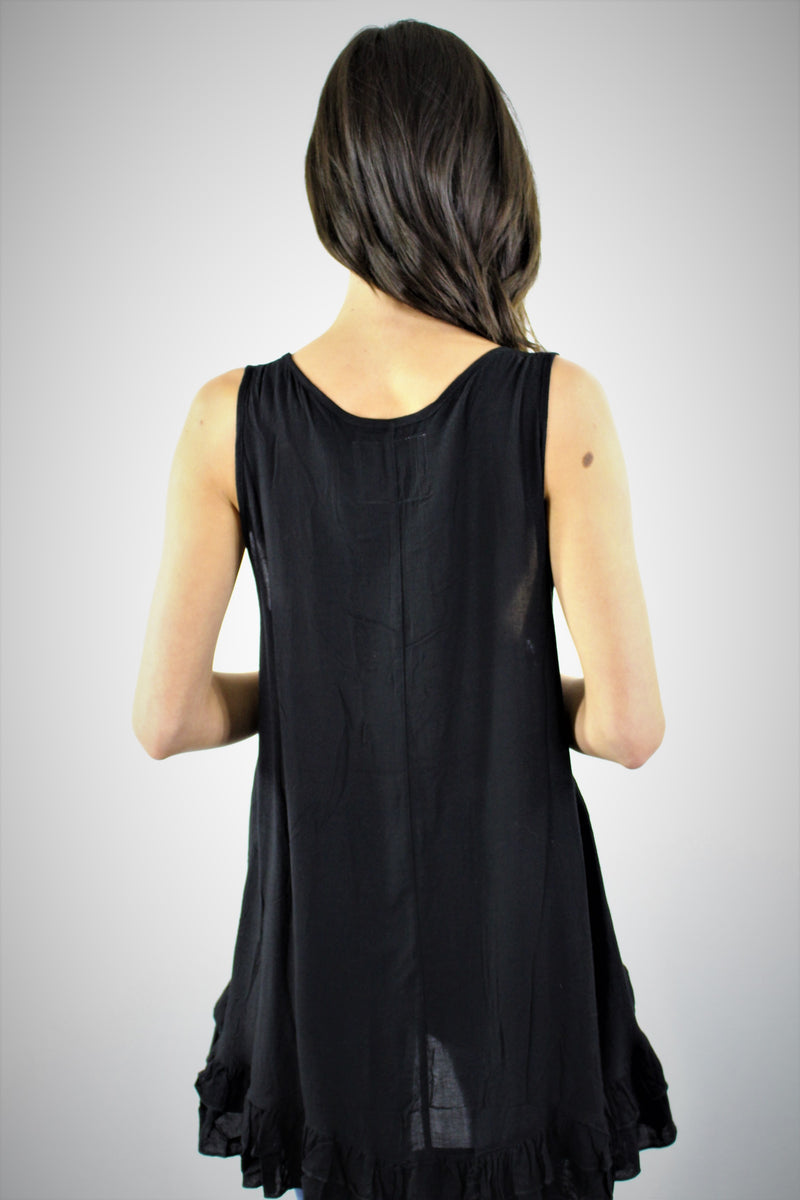 Sleeveless Tunic with Ruffled Hem