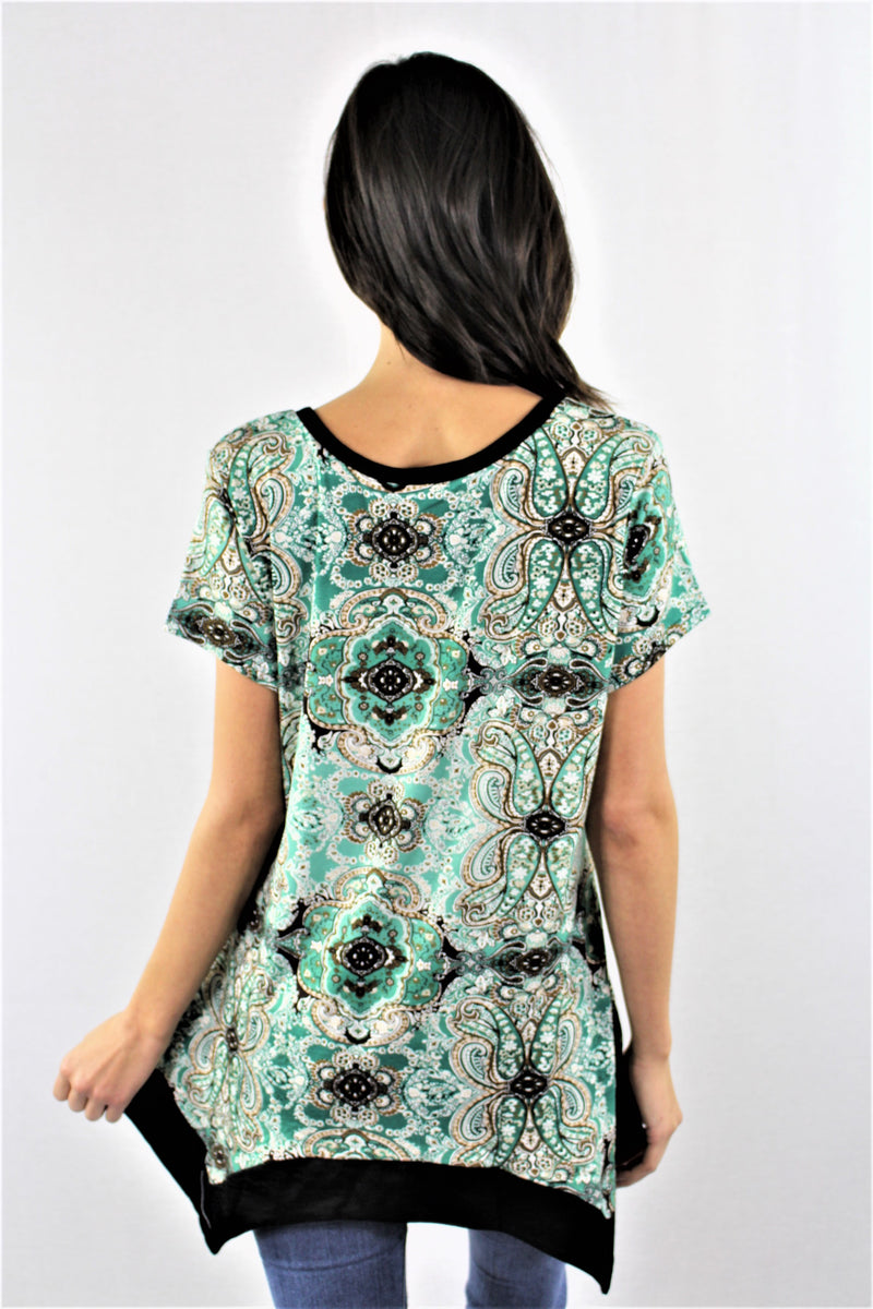 Round Neck Printed Tunic Top