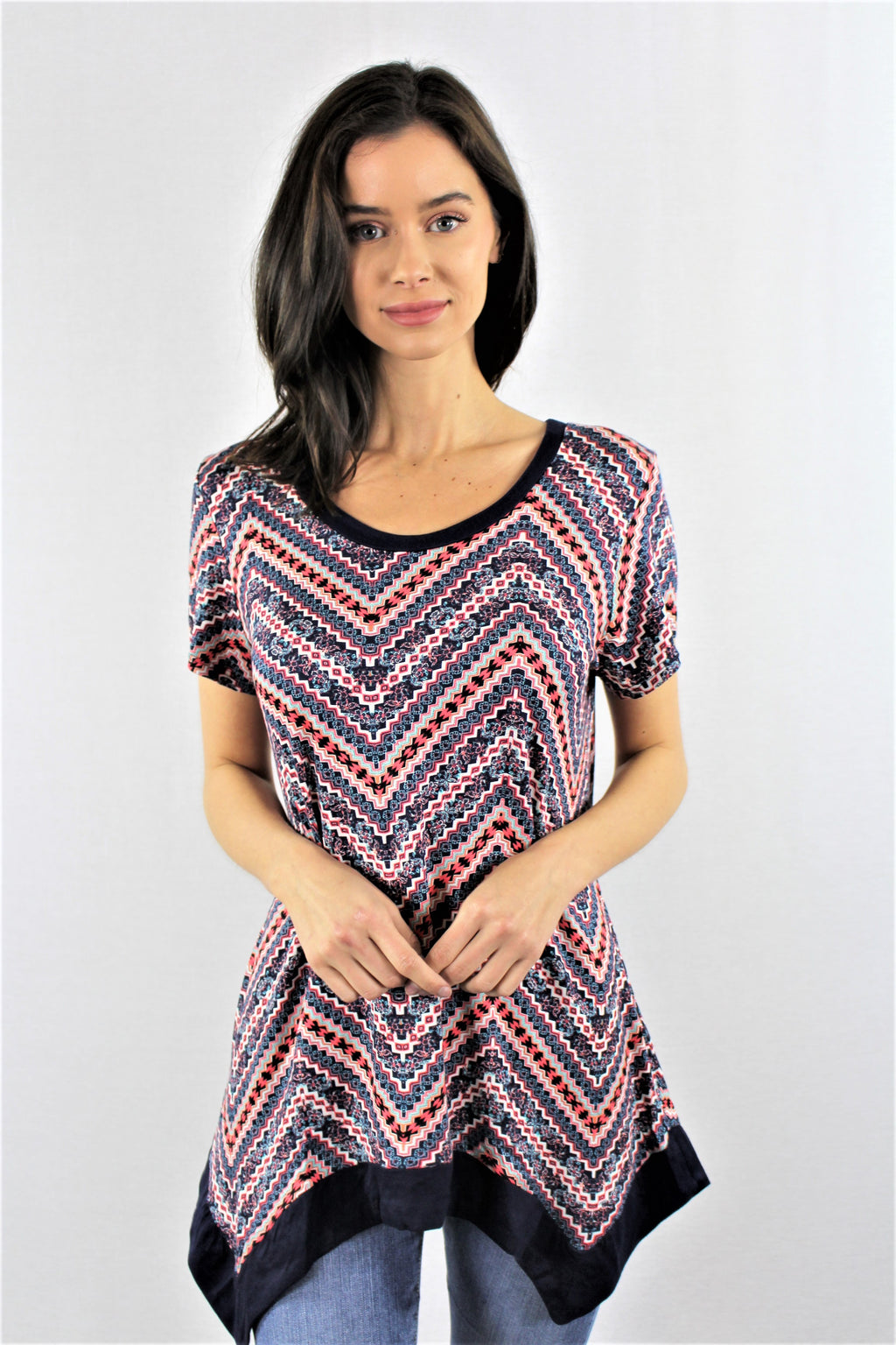 Women's Round Neck Printed Tunic Top