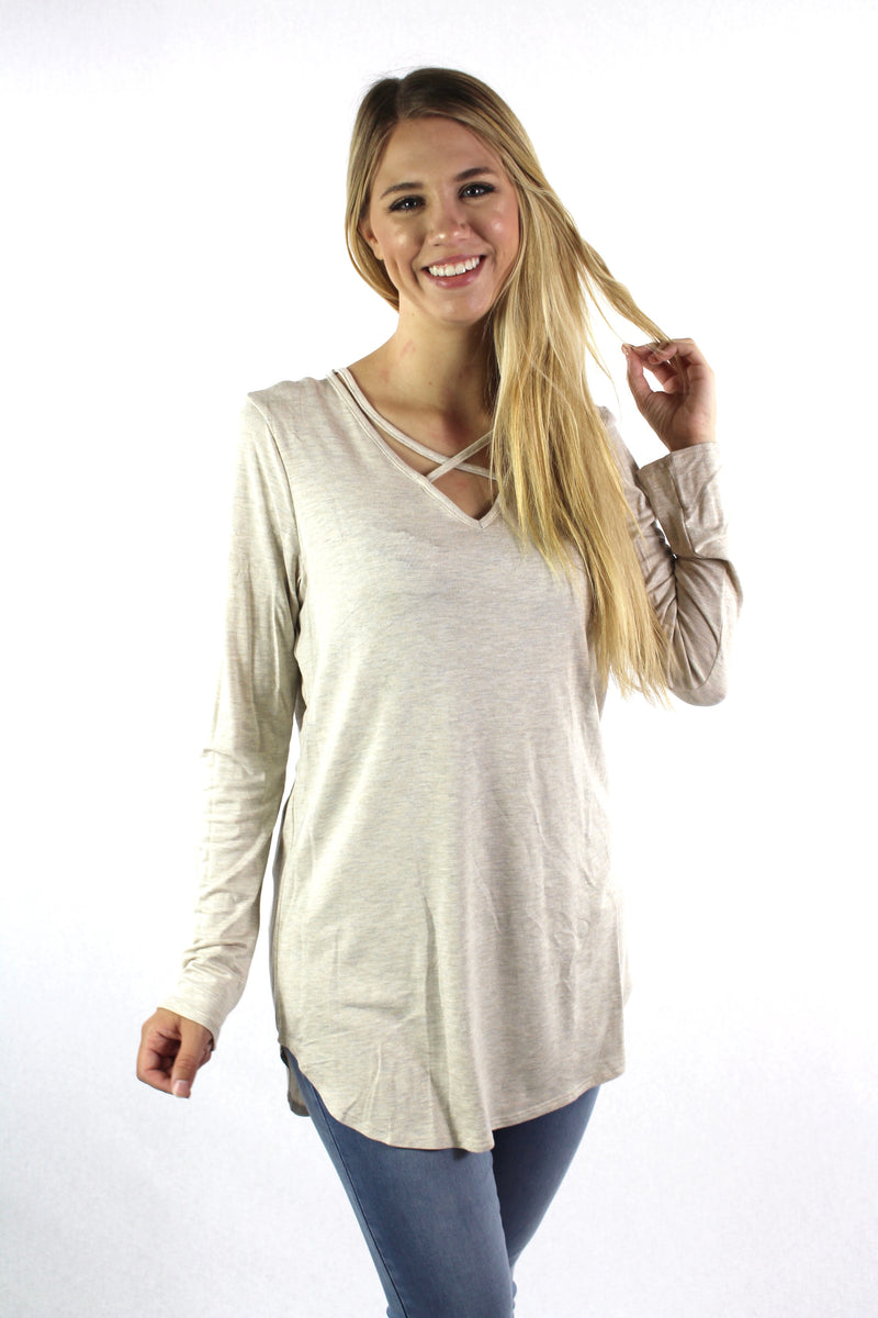 Women's Long Sleeve With Front Criss Cross Detail