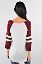 3/4 Sleeve Tri Color Baseball Tee