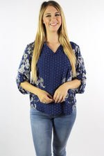 Women's 3/4th Sleeve Floral Print Top