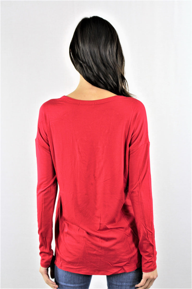 Women's Long Sleeve Lace Up Top