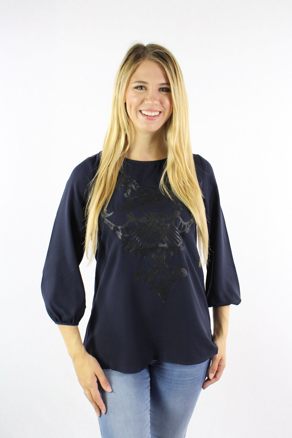 Women's 3/4 Sleeve Print Chiffon Top
