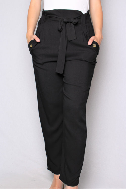 Women's Wide Hem Straight Cut Pants w/ Pockets & Knot