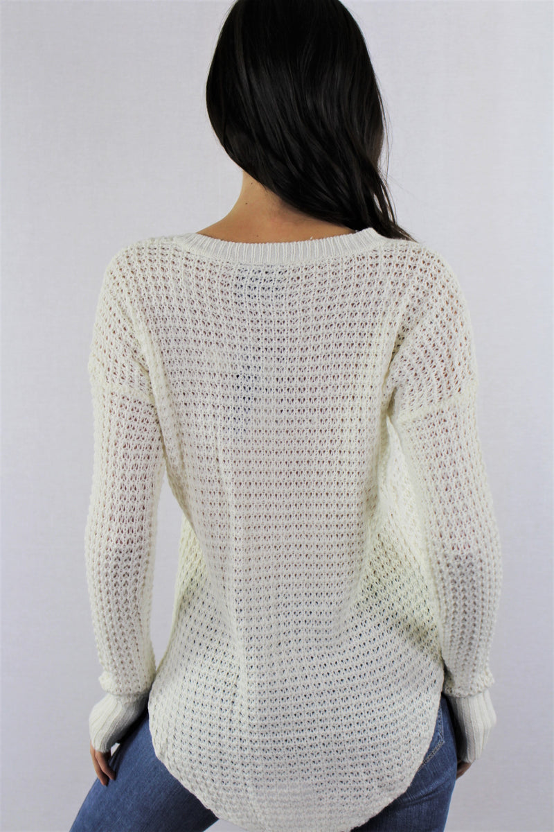 Women's V Neck Knitted Sweater Top