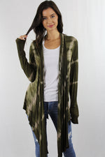 Long front open back Tie Dye Cardigan