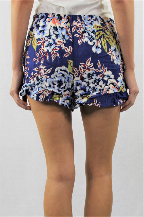 Women's Elastic Waist Floral Print with Ruffle Hem Shorts