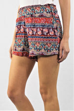 Women's Elastic Waist Tribal Printed Shorts