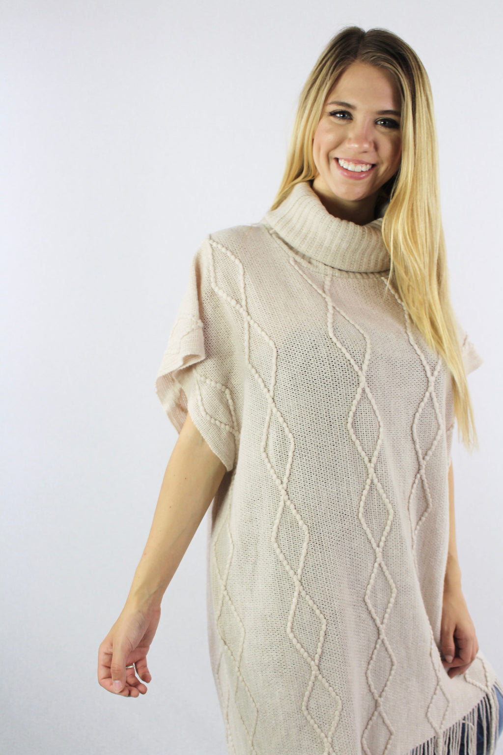 Women's Cowl Neck Solid Poncho