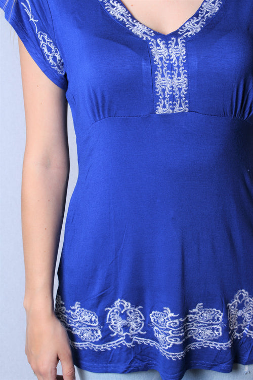 Women's Plus Size Short Sleeve Embroidered Tunic Top