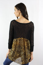 3/4th Sleeve Leopard Tunic Top