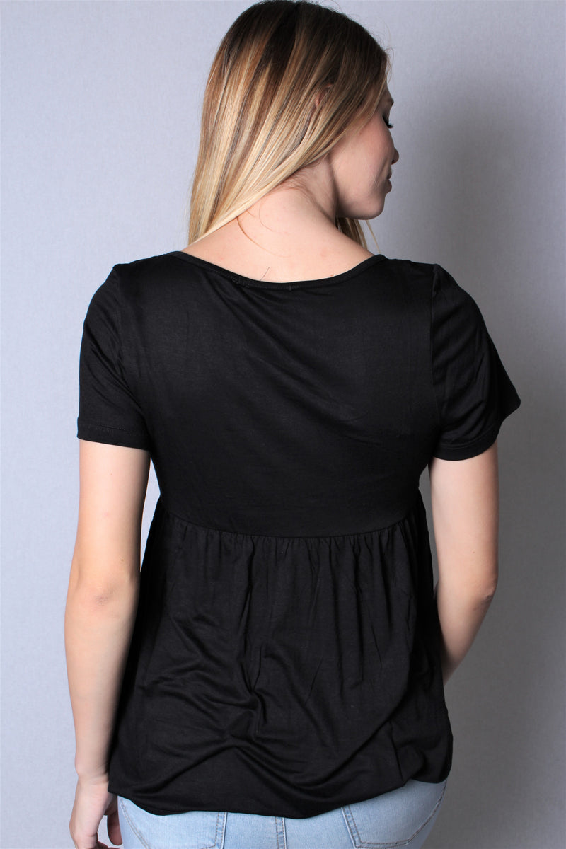 Women's Short Sleeve Solid Peplum Top with Button Design