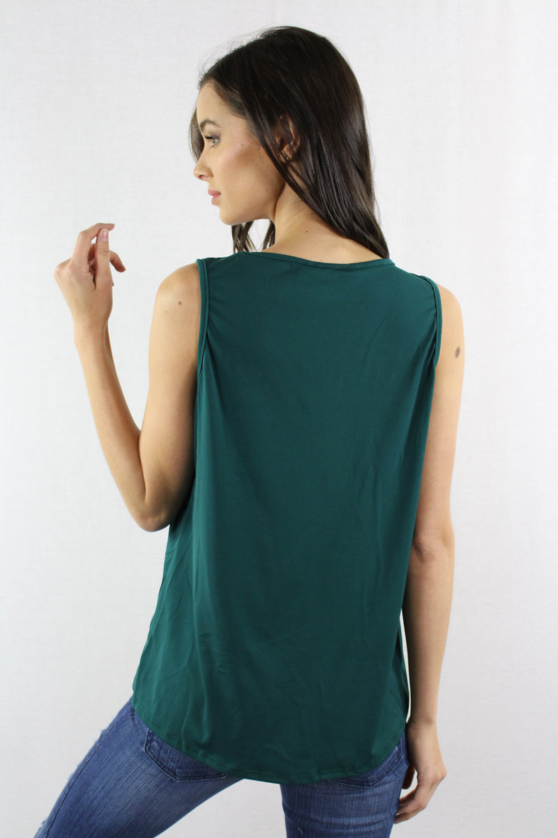 Sleeveless Wide Hem Top