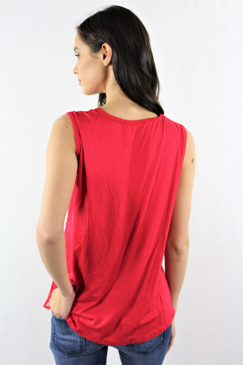 Sleeveless V Neck Top with Twisted Front