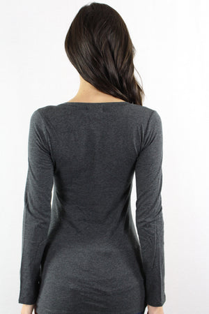 V Neck Long Sleeve Fitted Top