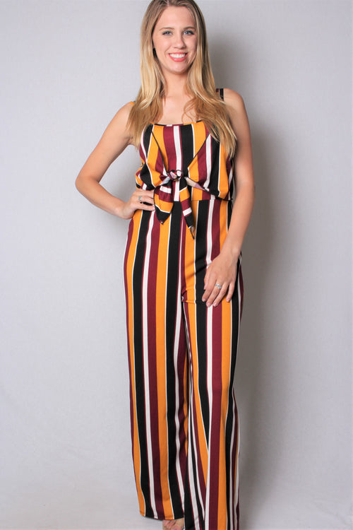 Women's Vertical Stripe Strappy Jumpsuit