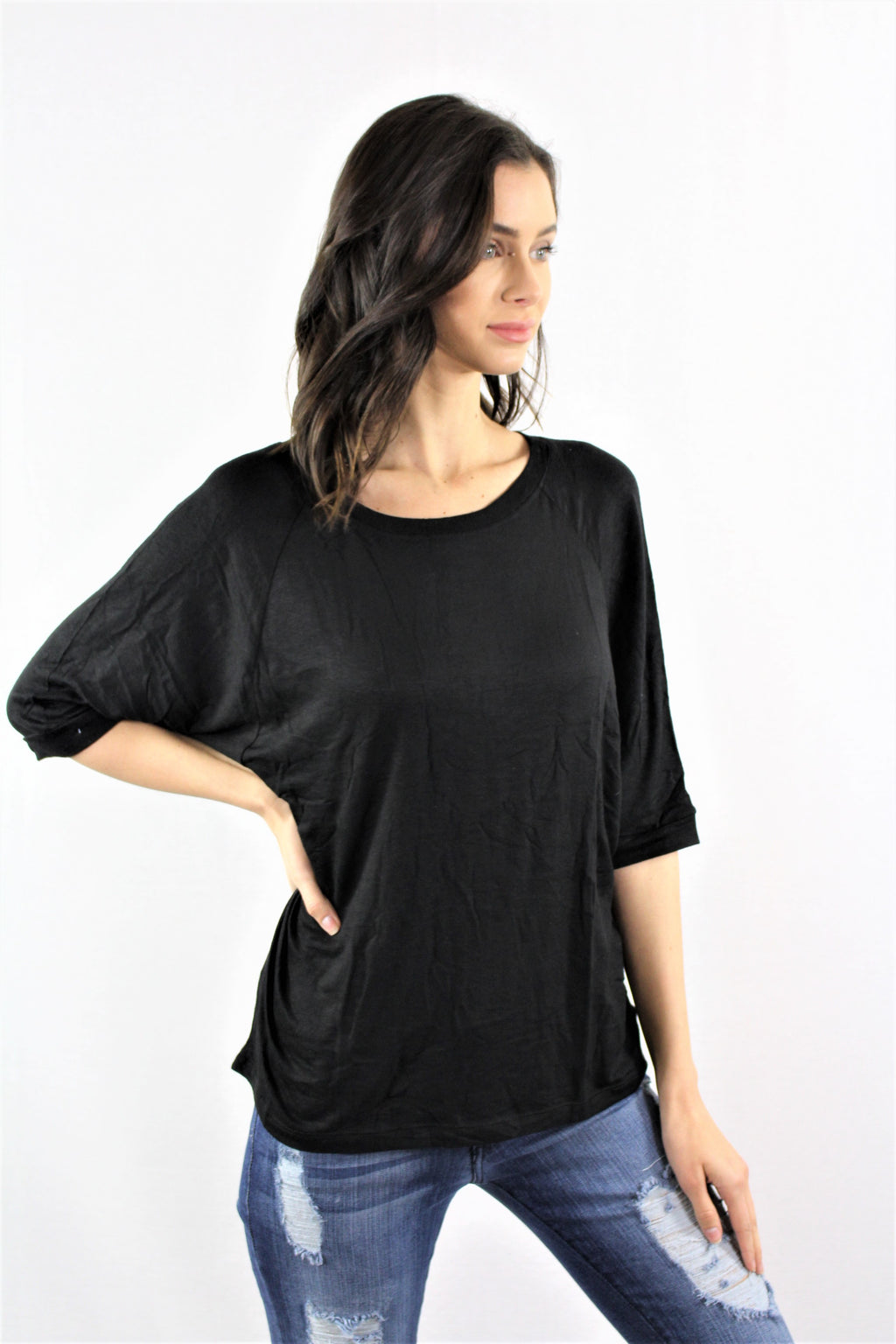 Women's Batwing Sleeve Solid Color Top