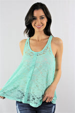Sleeveless Laced Top with Button Detail