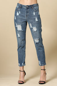 Blue wash distressed boyfriend jeans
