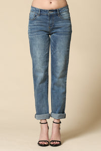 Blue wash boyfriend jeans with cuffed ankle