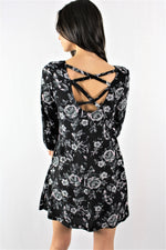 3/4th Sleeve Floral Dress with Criss Cross Back