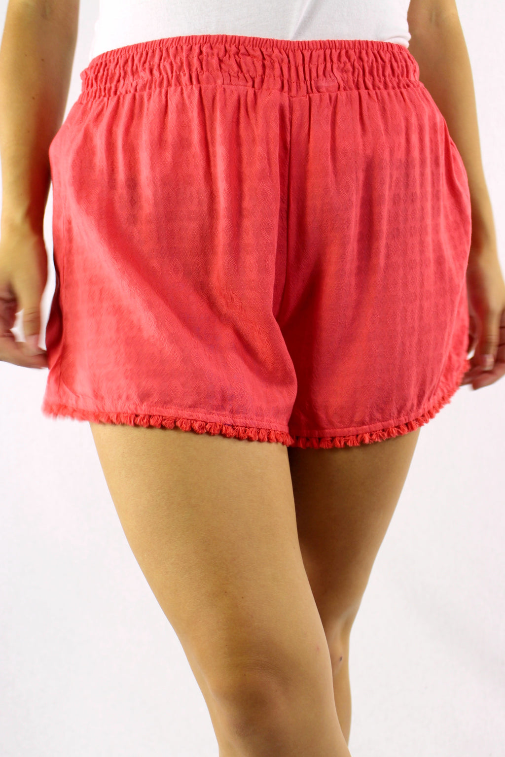 Women's High Waist Shorts with Tassel Hem