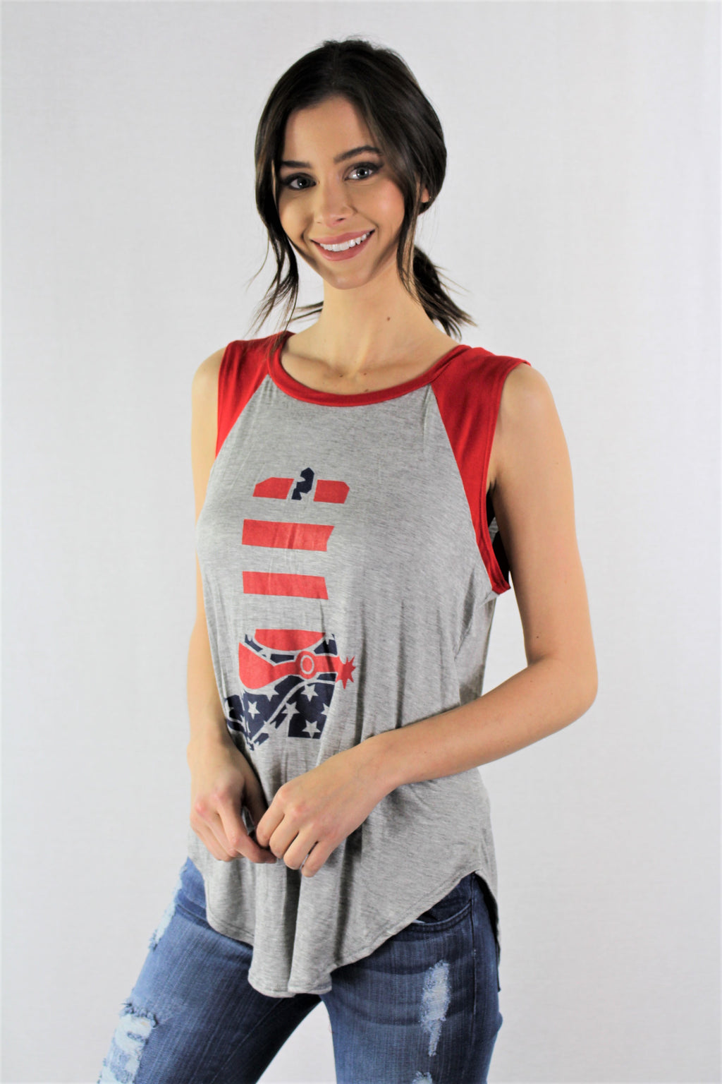 Sleeveless Cowgirl USA Top