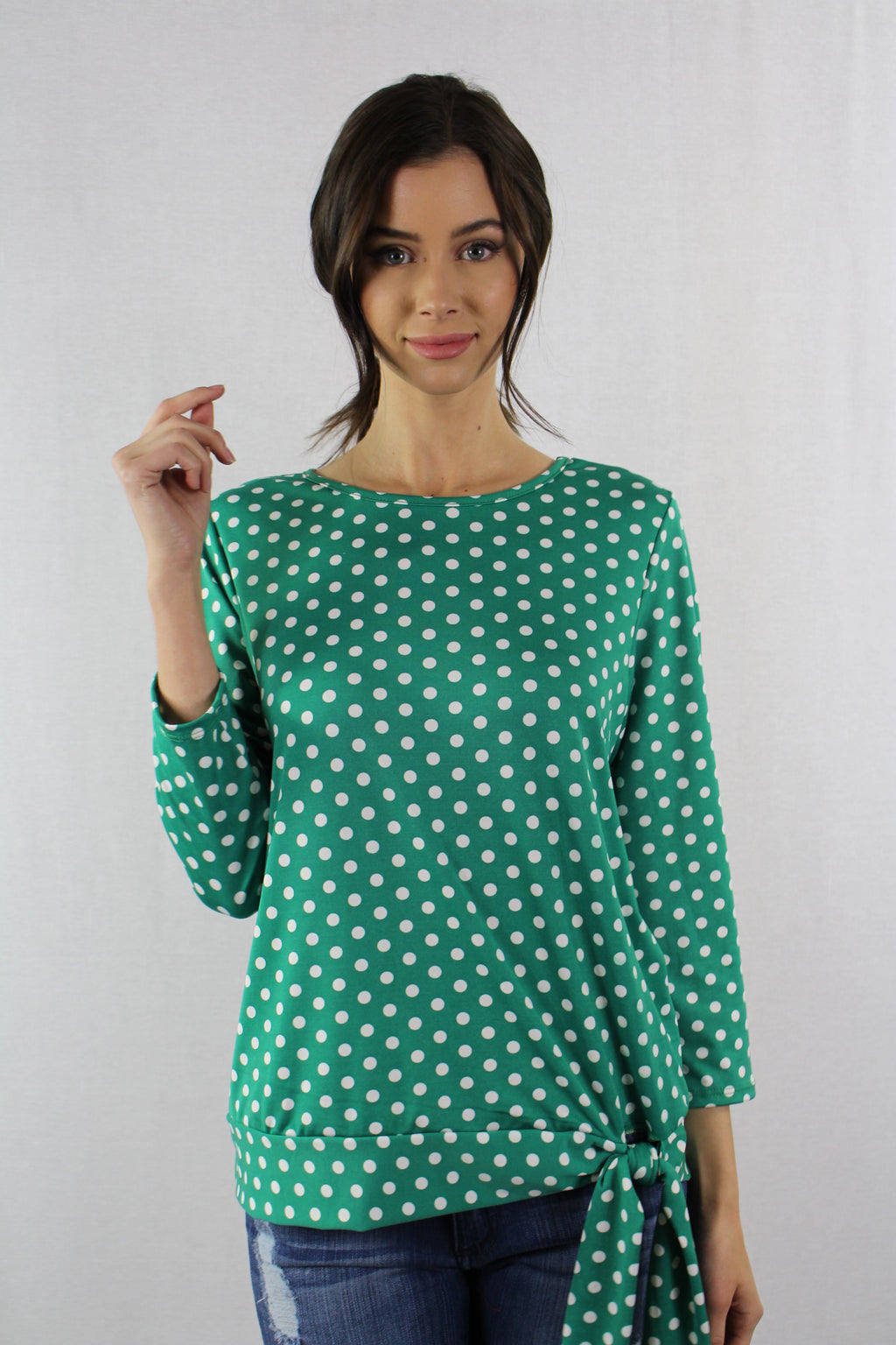 3/4 Sleeve Top with Front Knot