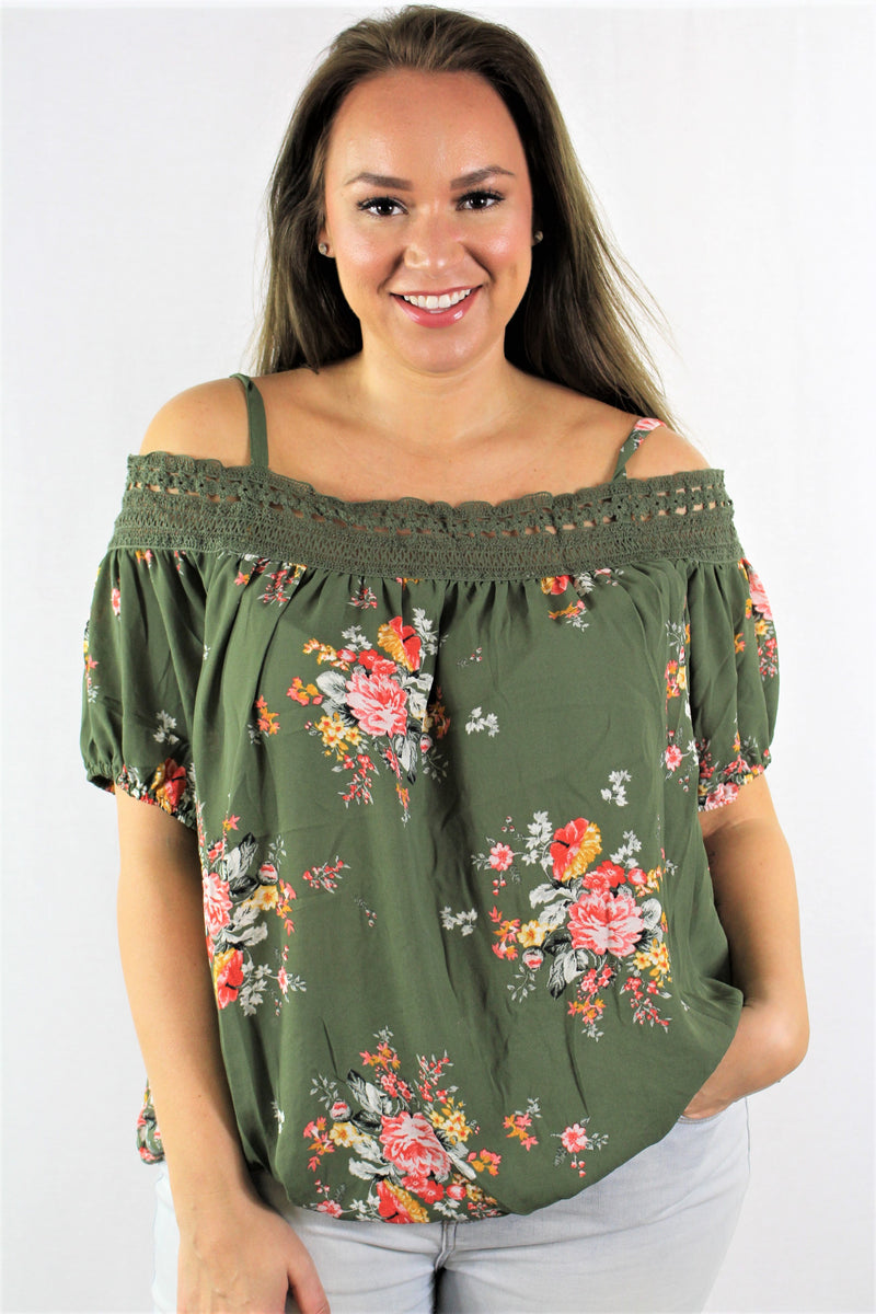 Plus Size Floral Off Shoulder