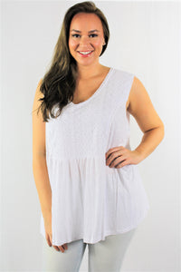 Plus Size Sleeveless Lace Front Tank