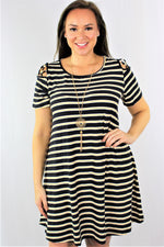 Plus Size Cage Sleeve Dress (Black/Mustard)