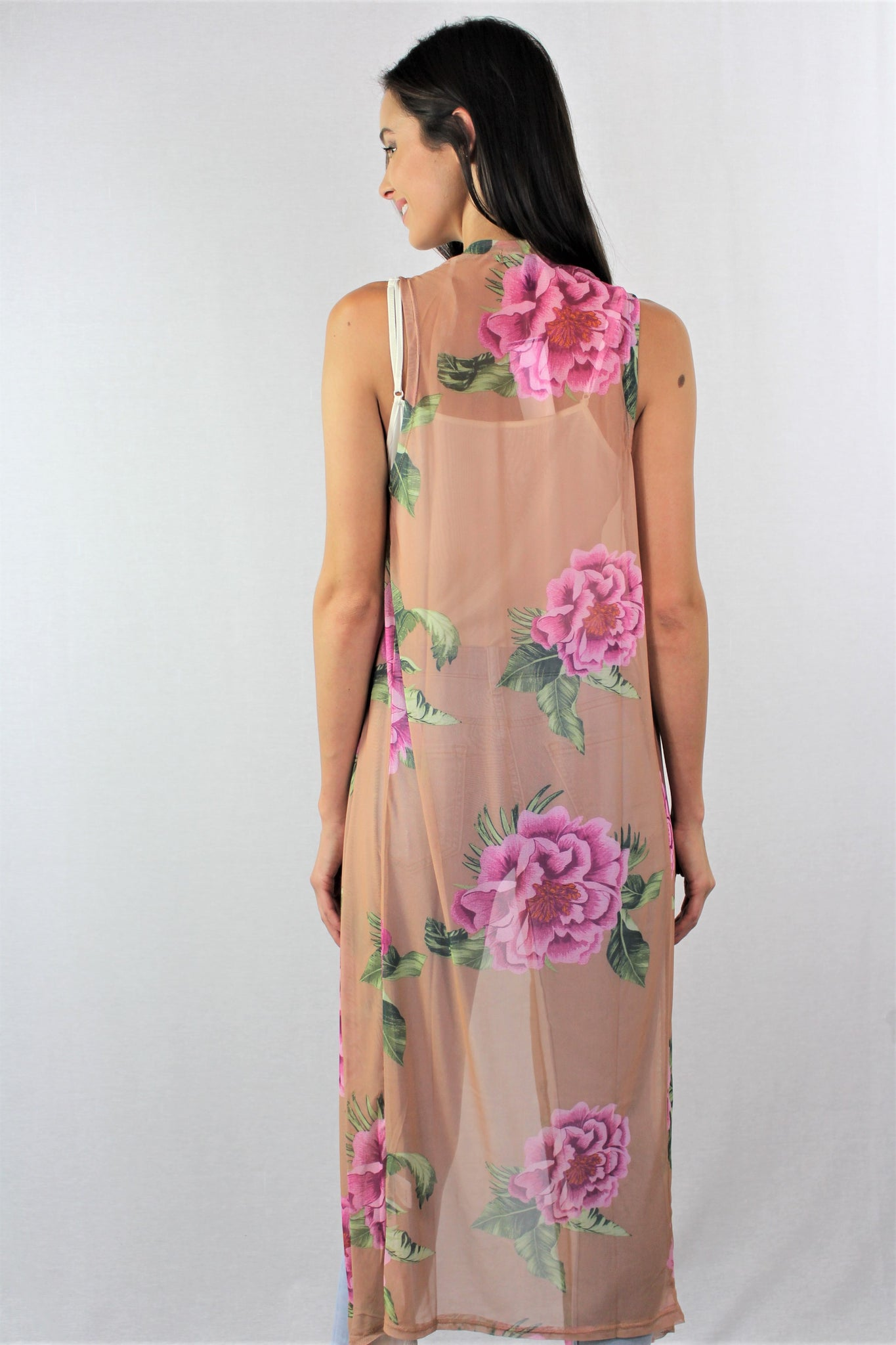 Womens Sleeveless Maxi Floral Print Shawl Duster