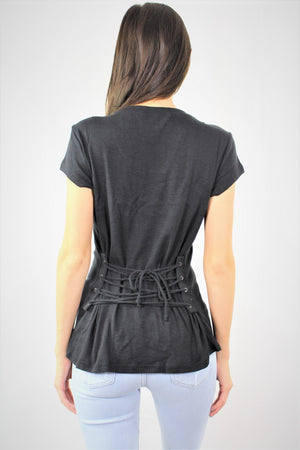 Round Neck Short Sleeve Top with Back Strings