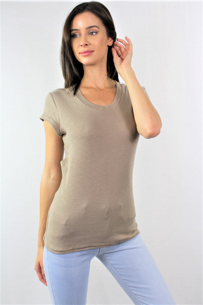 Women's Round Neck Short Sleeve Top with Back Strings