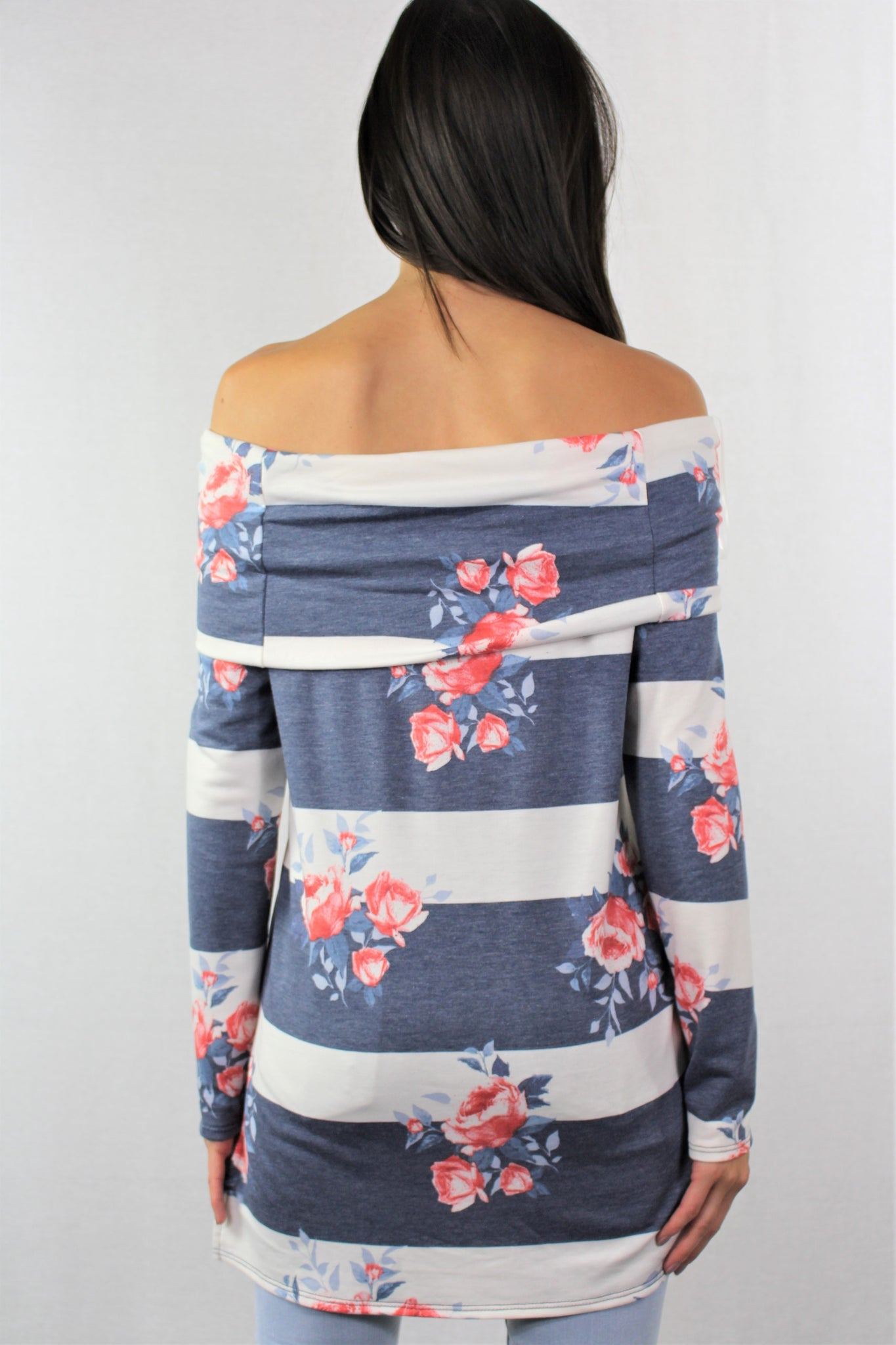 Long Sleeve Off Shoulder Floral Tunic Top