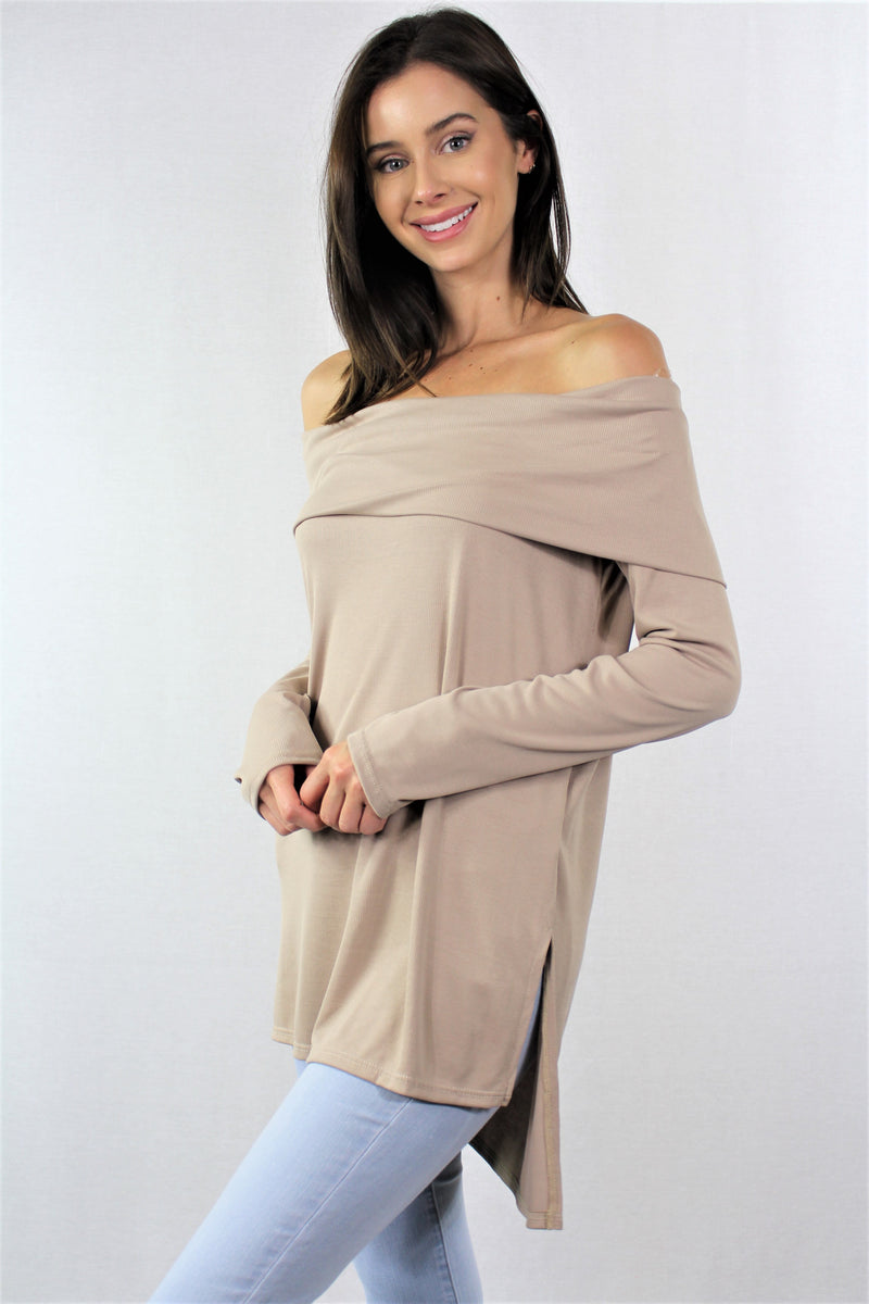 Long Sleeve Off Shoulder Solid Tunic Top