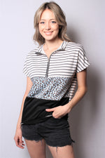 Women's Short Sleeve Zip Up Color Block Top