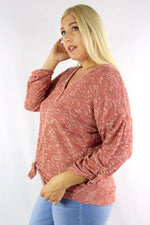 Women's Plus Size Long Sleeve Button Down Top with Front Knot
