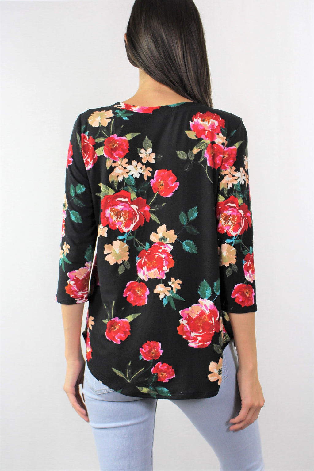 Long Sleeve Round Neck Floral Top
