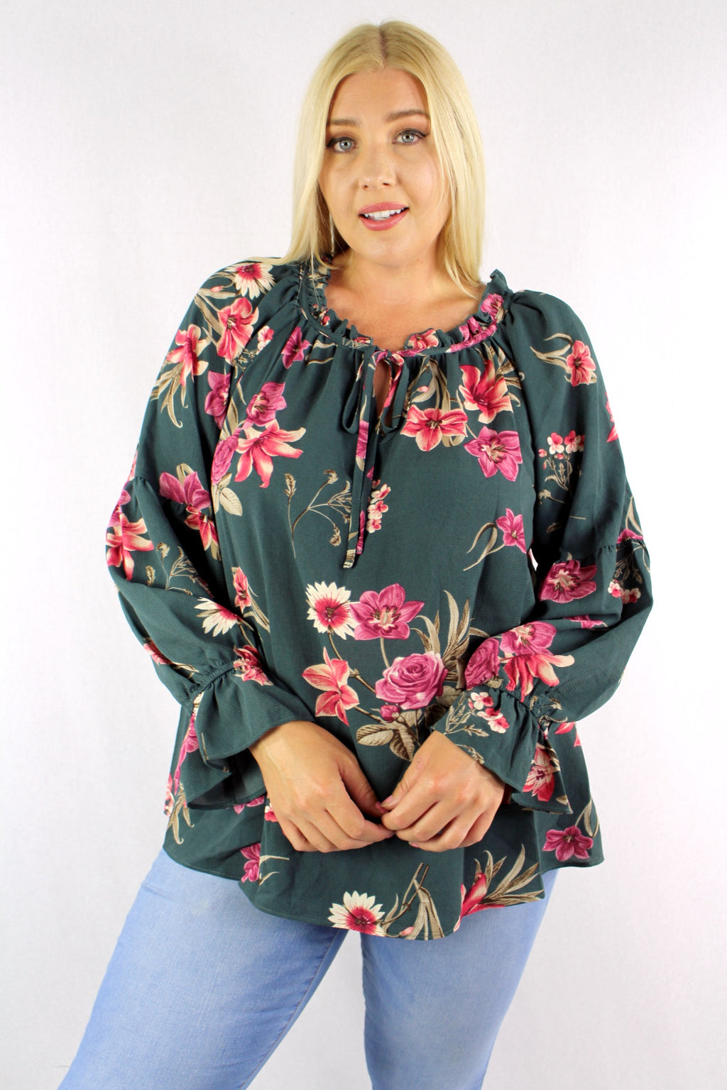 Women's Plus Size Floral Long Sleeve Ruffled Neck Detail Top