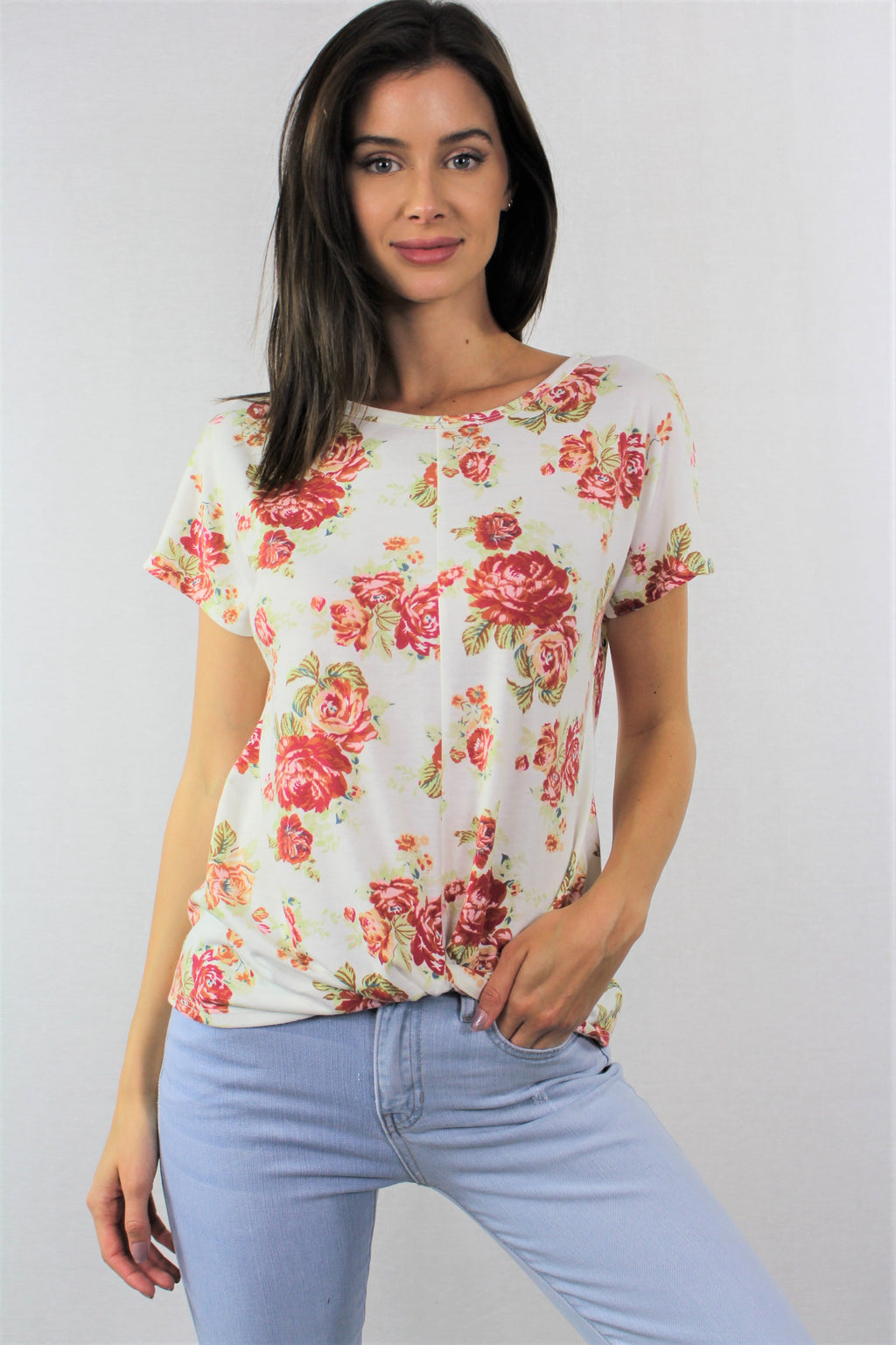 Short Sleeve Round Neck Floral Top