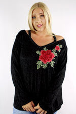 Women's Plus Size Long Sleeves V Neck Flower Embroidered Detail Top