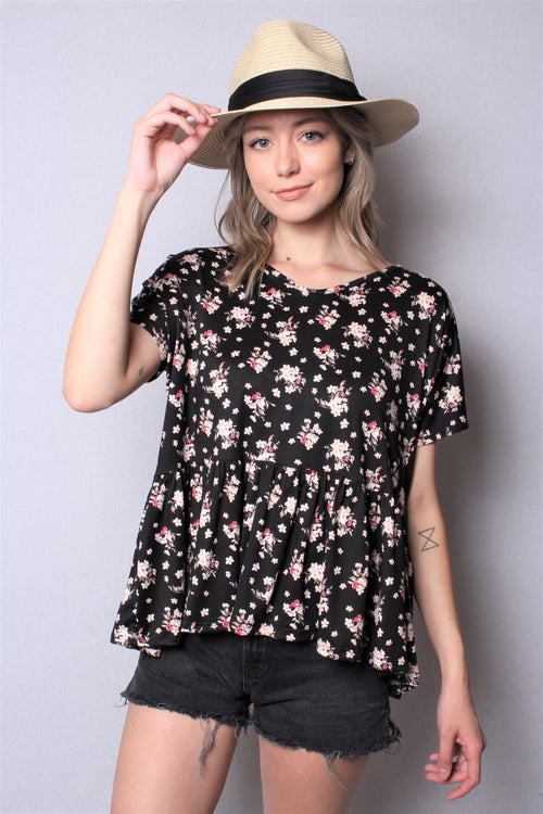Women's Short Sleeve Printed Peplum Top