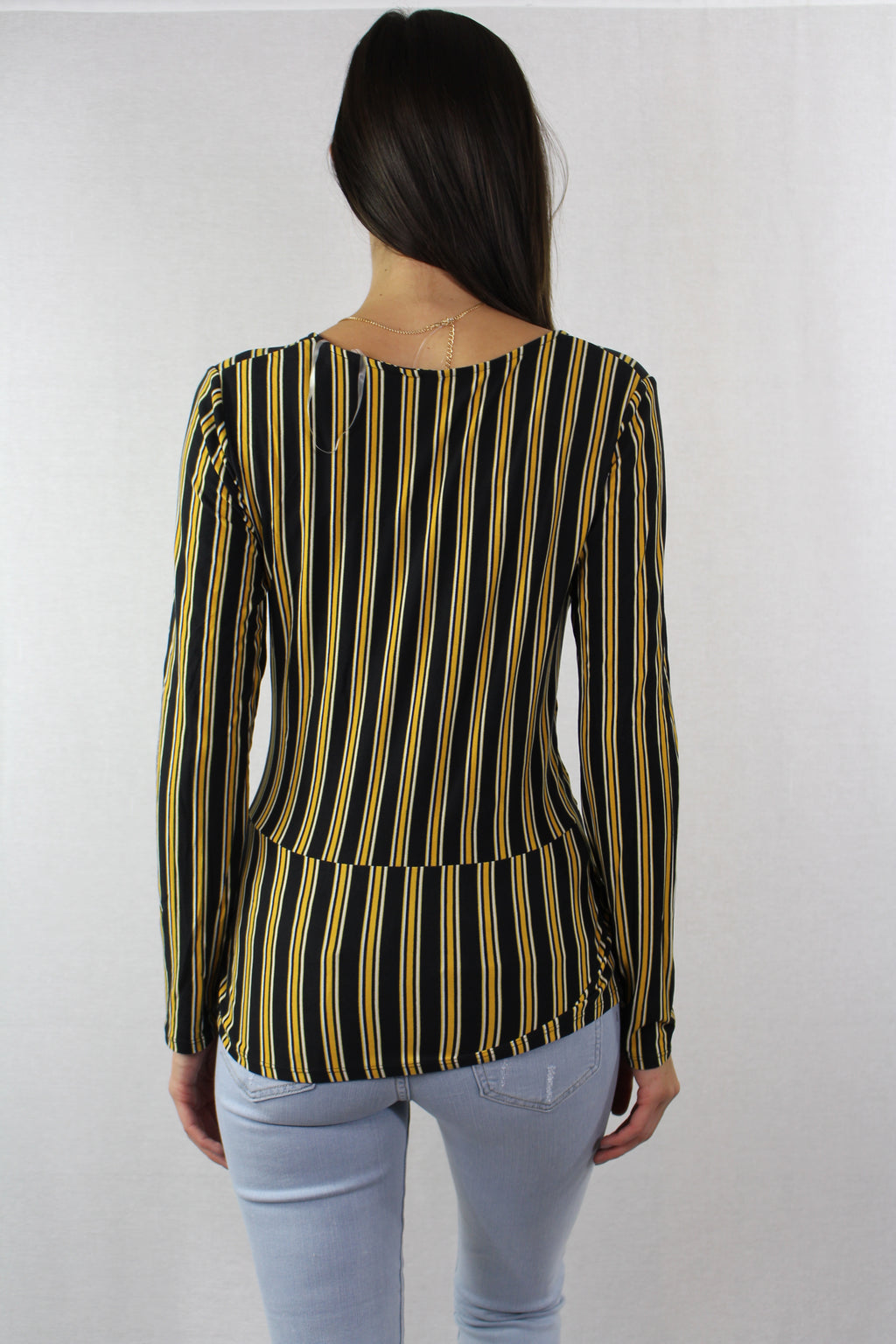 Women's Long Sleeve striped Top with v neckline and attached tank
