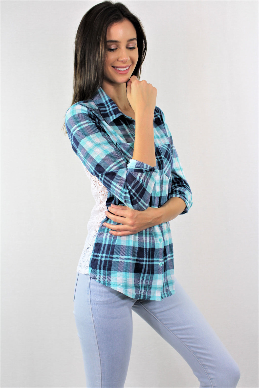 3/4th Sleeve Plaid Top with Lace and Front Pockets