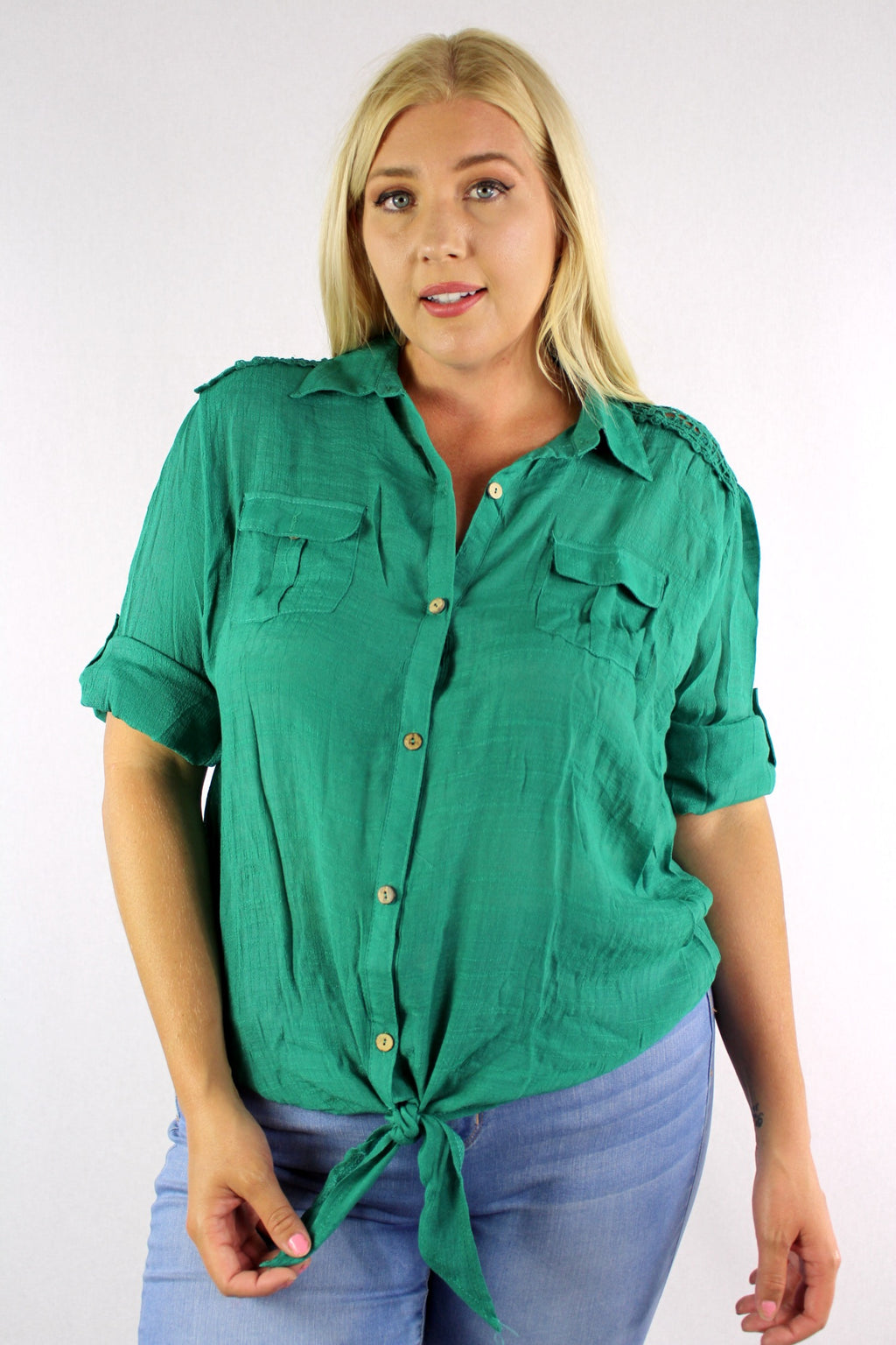 Women's Plus Size Button Down Top with Lace & Knot Details